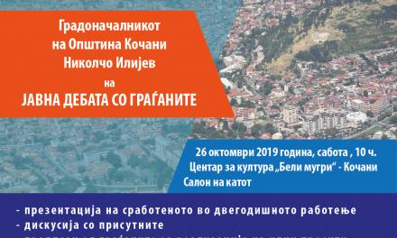 Јавна дебата за две години од работењето на градоначалникот на Општина Кочани Николчо Илијев
